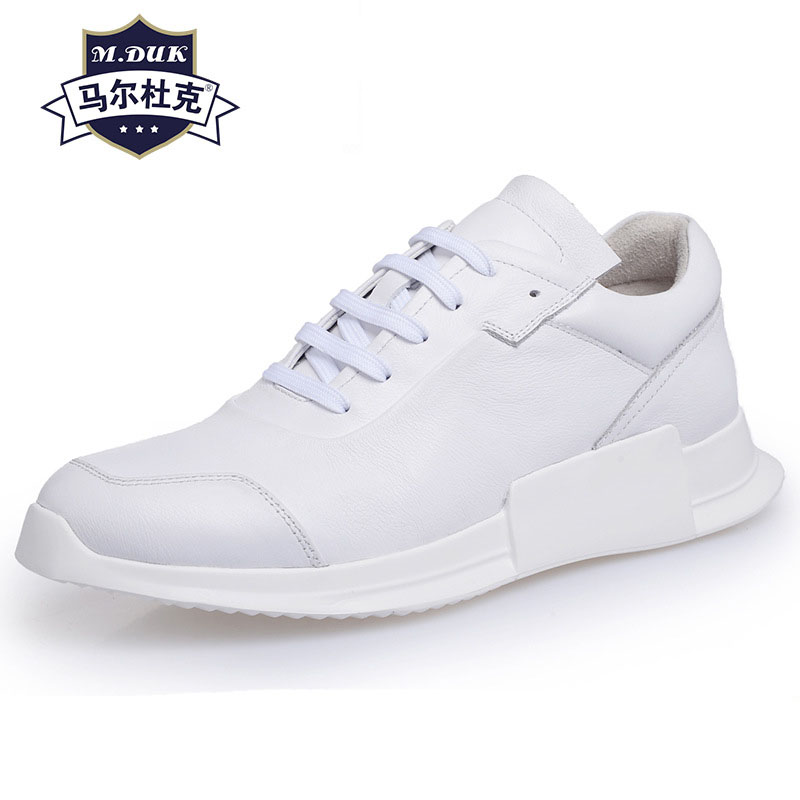 Genuine Leather casual shoes mens white breathable sneaker fashion boots men Leisure shoes British retro all-match cowhide