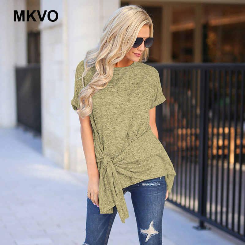 Delle donne di estate O-Collo irregolare camicia a maniche corte T-shirt di colore solido casuale allentato feminina Plus Size tee shirt femme 5XL