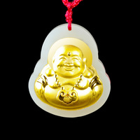 Hetian Jade Maitreya Pendant Chinese Jade Stone Fine Jewelry Lucky Amulet Women Buddha Gold Jade Necklace Gift