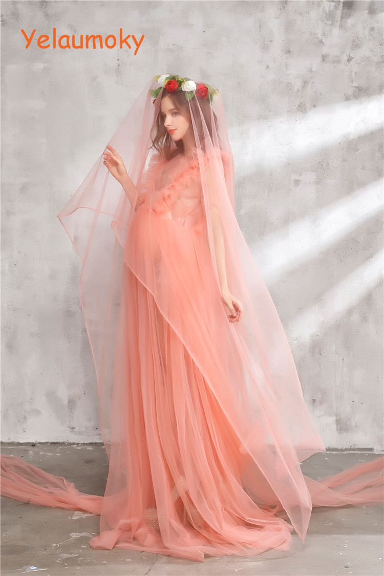 Photography maternity Ruffles long dress props photo shooting woman maternity gowns pregnant dress girl wedding dress[Yelaumoky] smdppwdbb maternity dress maternity photography props long sleeve maternity gown dress mermaid style baby shower dress plus size