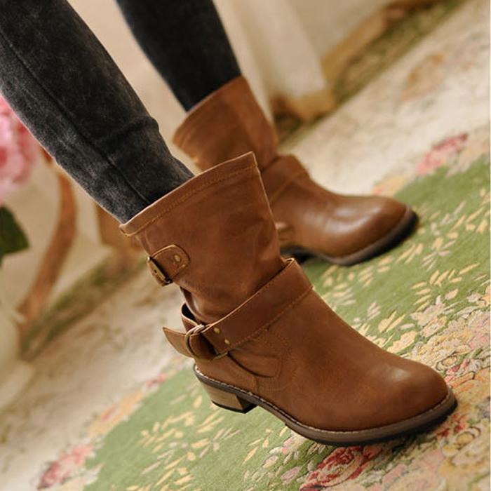 лежа винтажный мартин сапоги женщины зима пряжка тенденция обувь женщины для мотоцикла туфли-botas по ботфорты calcados femininos летний