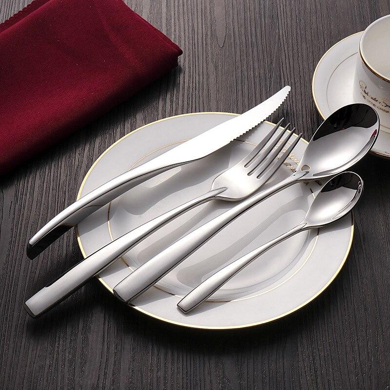 24 pçs conjunto de louça facas de aço inoxidável garfos s poons prata real conjunto talheres serviço jantar facas cozinha & acessórios