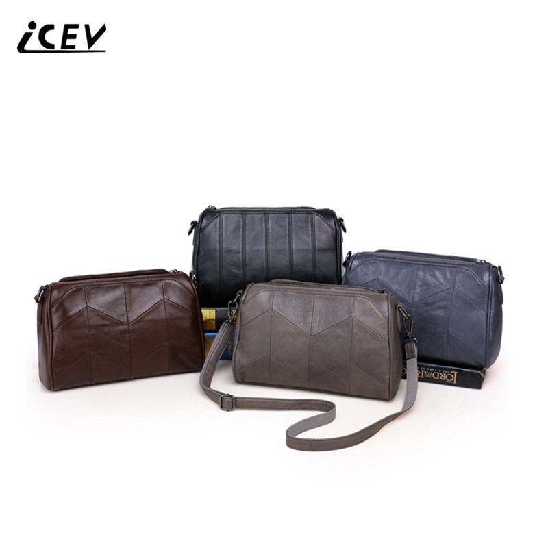 ICEV Simple 100% Genuine Leather Handbag Cow Leather Bags Handbags Women Famous Brands Women Leather Handbags High Quality Totes