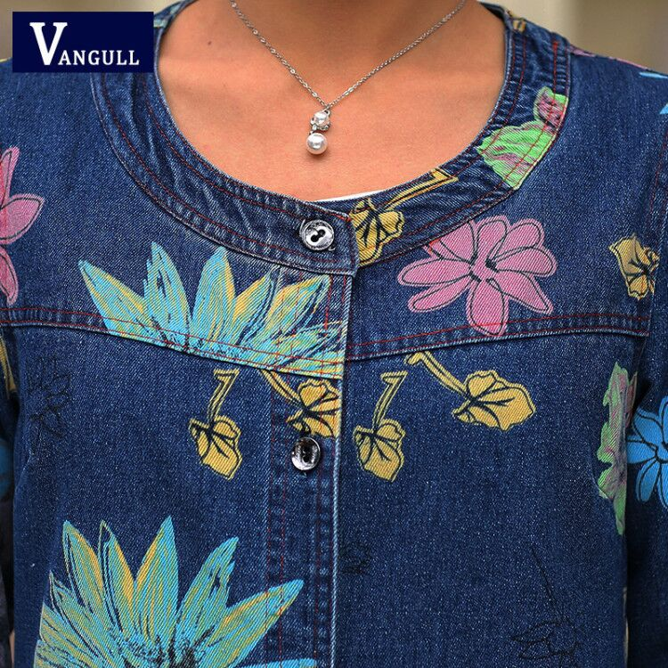 Women Denim Jackets New Style Cotton Tops Ladies Print Single Breasted Casual O Neck Loose Jean Women Denim Jackets New Style Cotton Tops Ladies Print Single Breasted Casual O-Neck Loose Jean Coats Large Size Outerwear