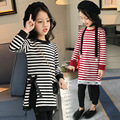 Spring New Arrival Baby Girl Long T-shirt Stripe Pattern Kid Top Tees Side Slit Design Lace Hem Children Cotton Clothes