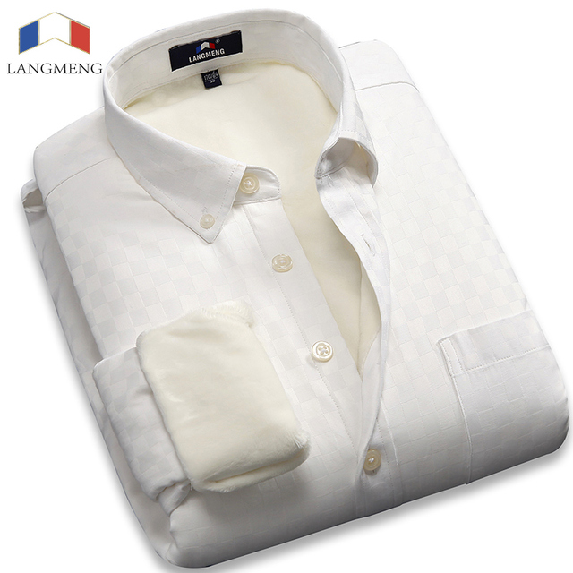 Langmeng 2016 New  super Warm dress shirts Solid Color white Casual Shirt Plus velvet Thicken Camisa Masculina Chemises Hommes