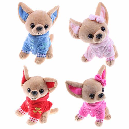 1pcs 17cm Chihuahua Puppy Kids Toy Kawaii Simulation Animal Doll Birthday Gift for Girls Children Cute Stuffed Dog Plush Toy