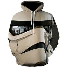 2019 New Tide Hoodie Men Long Sleeve Star Wars Print Sweatshirt  Leisure 3D Hoodies and Women with Cap Hoody Clothing