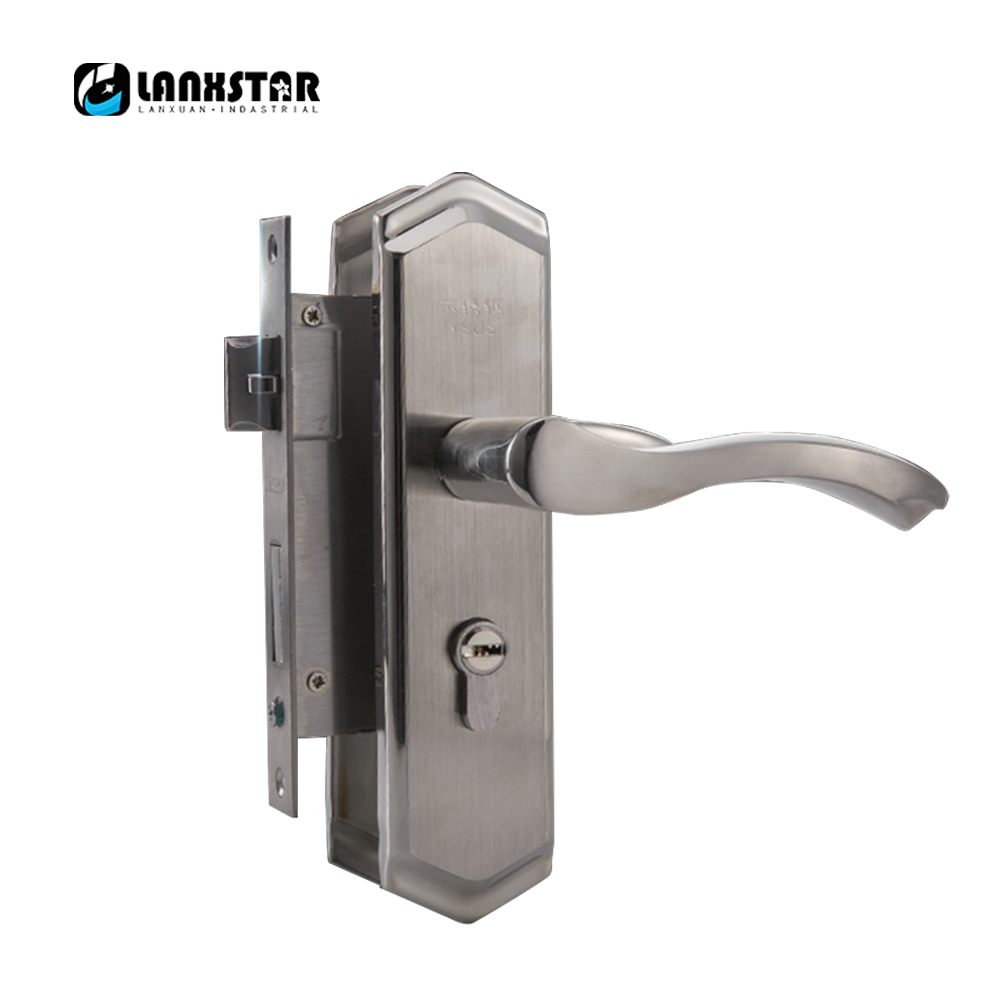 Strong Practical 304 Stainless Steel Interior Door Handle Lock CC50mm Anti-Insert Lockset Handle Locks europe standard 304 stainless steel interior door lock small 50size bedroom big 50size anti shelf strength handle lock
