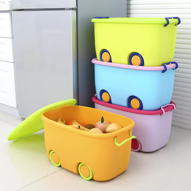 OUNONA Stackable Latch Box Storage Containers Plastic Bins For Kids