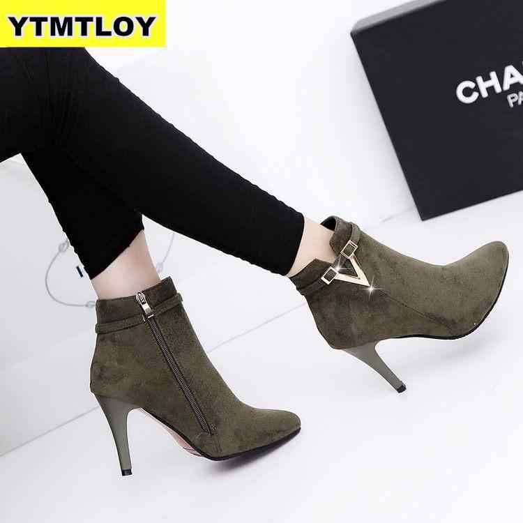 2019 Nóng Thu Đế Mỏng Giày Cao Gót Mũi Nhọn Da Giả Dây Kéo Phong Cách Gợi Cảm Mắt Cá Chân Giày Bốt nữ Bota Feminina