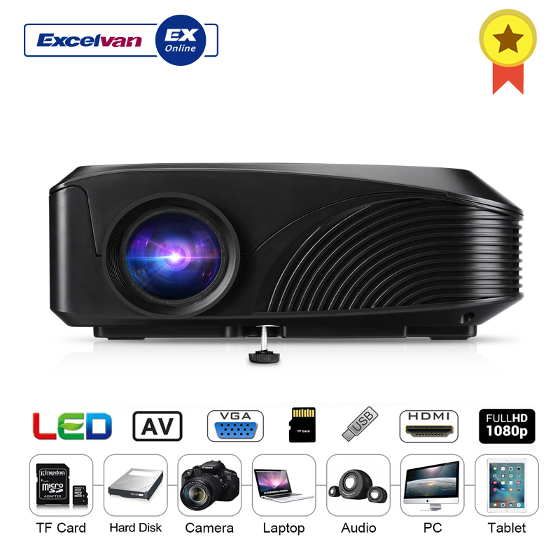 Excelvan LED 4018 Portable Projector 1200 Lumens 800 480 Support 1080P 130 Inch Red blue 3D