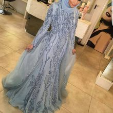 Sparkly Gorgeous Blue Evening Dresses Beaded Shiny Crystal Muslim High Neck Long Sleeves Prom Dress With hijab Vestido De Festa
