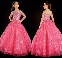 Shining Watermelon Red Floor Length Off The Shoulder Rhinestones Sequins Satin Flower Girls Pageant Dresses