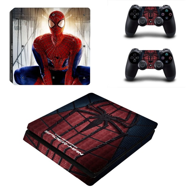 Spider man vinyl ps4 slim sticker for sony playstation 4 slim console skin 2 controller
