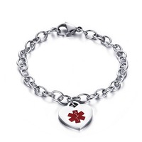 Free Engraving Woman 316L Stainless Medical Alert ID Heart Charm Link Chain Bracelet For Women Jewelry