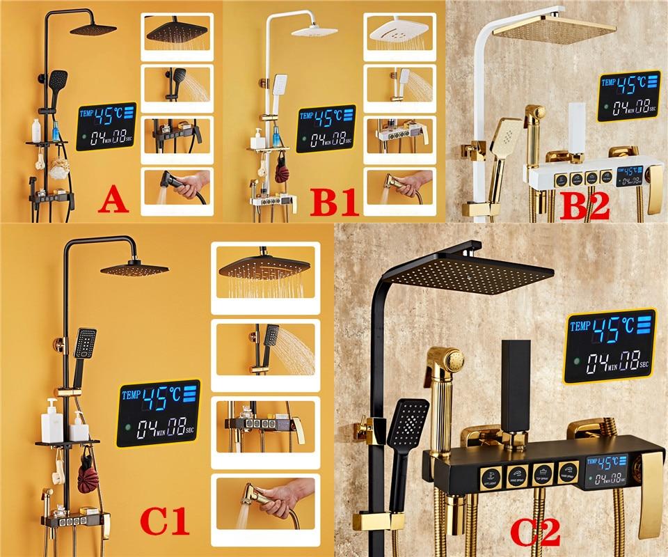 HTB1a7qWQSzqK1RjSZFLq6An2XXaH Senducs Digital Bathroom Shower Set Fashion White Gold Shower Series Quality Brass Bath Shower Faucet Temperature Shower Set
