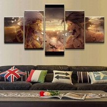 5 Pieces Attack on Titan Battle Eren Yeager Poster Modern Home Wall Decor Picture Art Print Painting On Canvas For Living Room