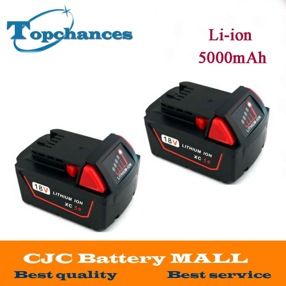2X High Quality 18V 5000mAh Li-Ion Replacement Power Tool Battery for Milwaukee M18 XC 48-11-1815 M18B2 M18B4 M18BX Li18 18v li ion 3000mah replacement power tool battery for milwaukee m18 xc 48 11 1815 m18b2 m18b4 m18bx li18 with power charger