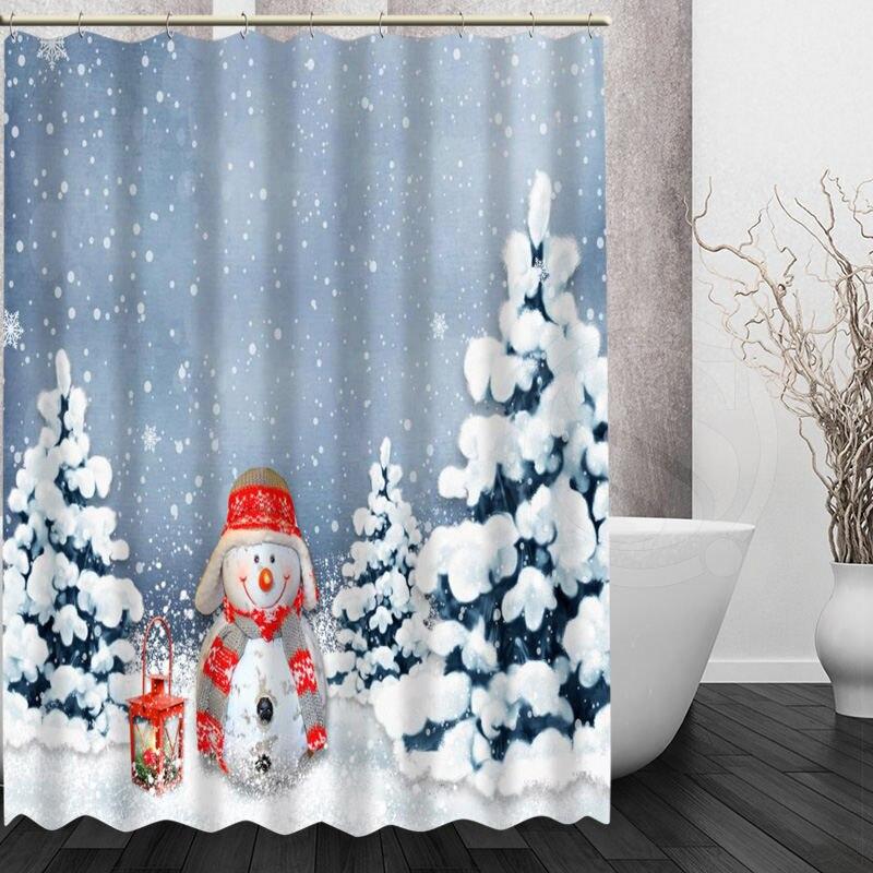 Muñeco de nieve de navidad Productos de Baño Impermeable Baño Cortina de Ducha H