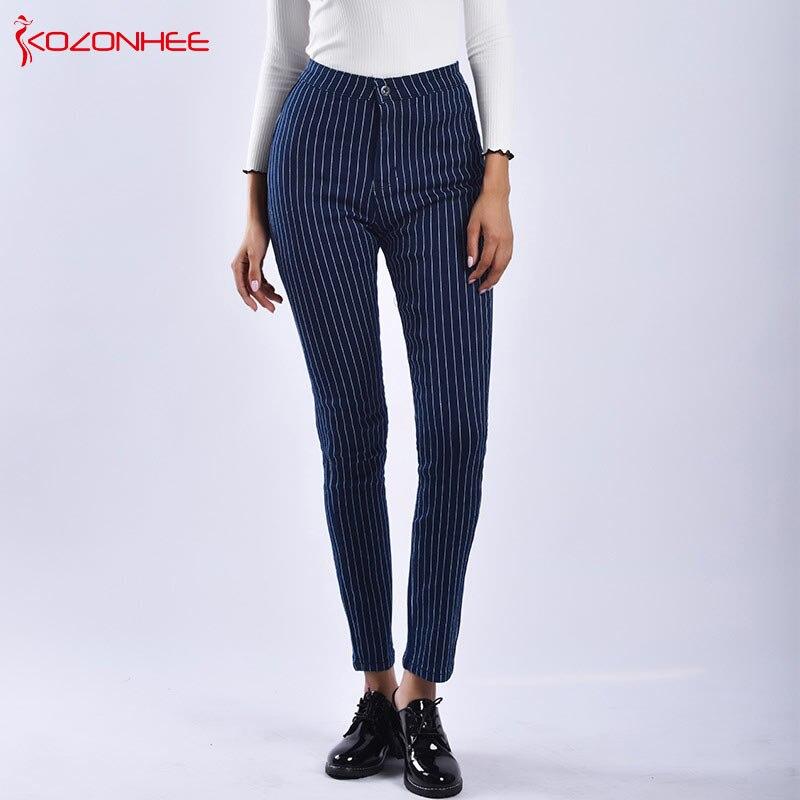 Plus Size Stretch Striped Skinny Pants Women Women Elasticity Tight Push Up Skinny Women Pants #35