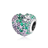 2019 Spring Gleaming Clover Heart Charm Bead With Pave CZ Fits Pandora Bracelets Original 100% 925 Sterling Silver DIY Jewelry