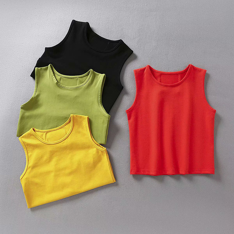 Vest Tops Clothing Crop-Top Sexy Casual Womens Ladies Sleeveless Slim Solid for Fitness