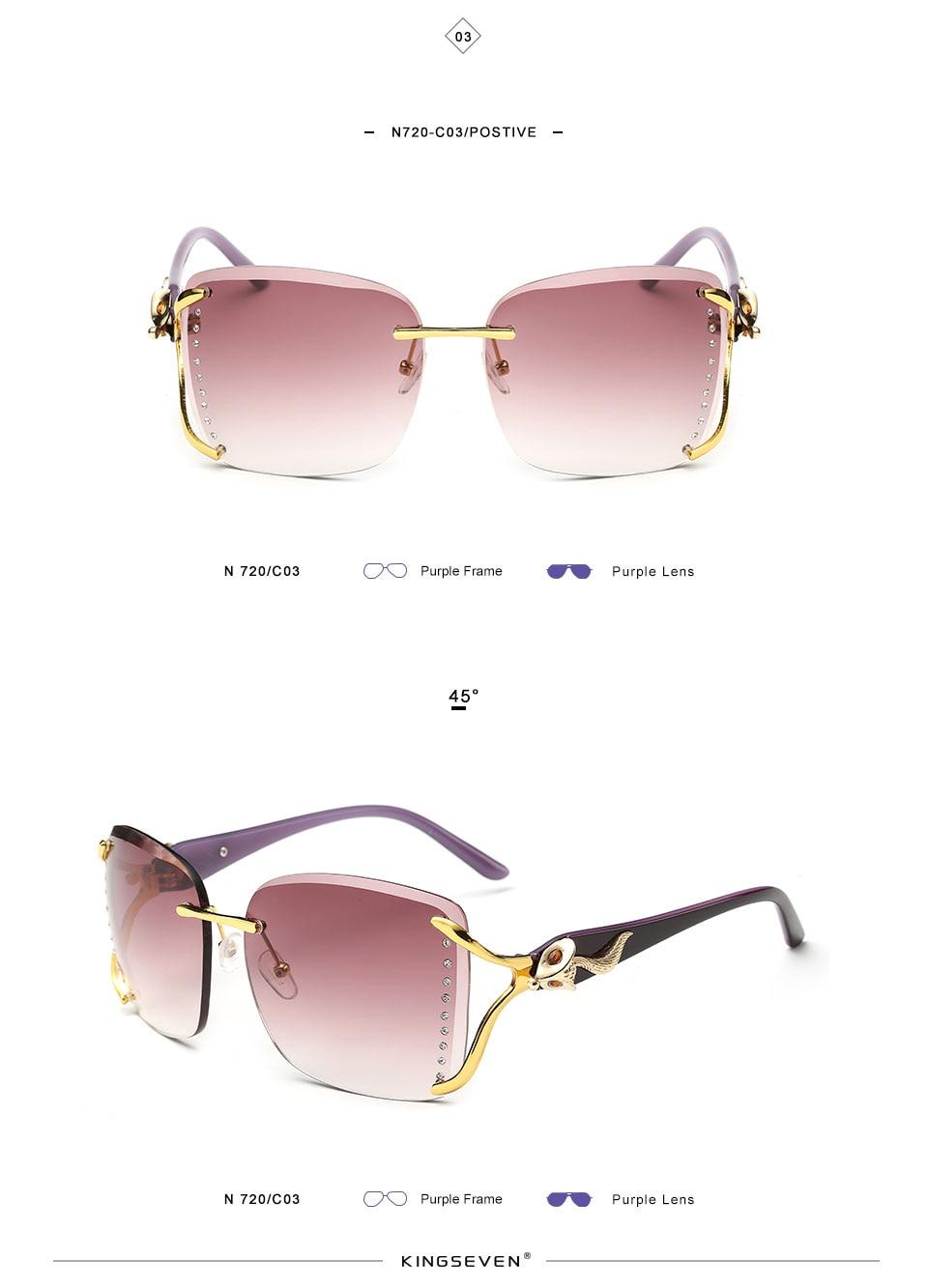 KINGSEEVEN Elegant Female Sunglasses Large frame fox decorated with diamond decoration Brand Designer Women's Glasses Feminine 7