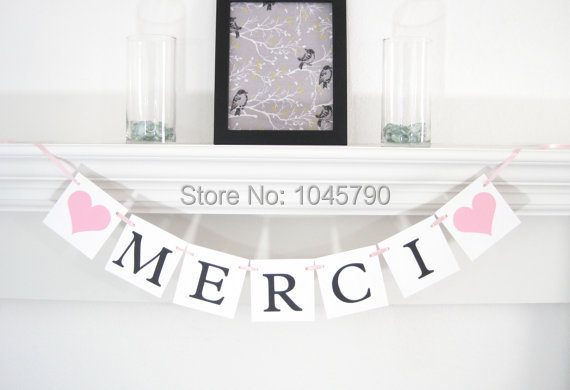 Free Shipping 1 X MERCI Banner French Thankyou Wedding Sign Photo Props Party Garland Decoration