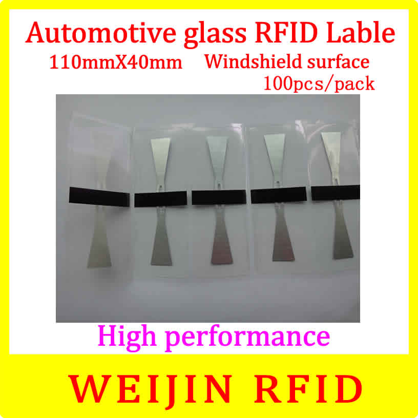 Car glass 11040 UHF RFID Tag 110mm*40mm 100pcs per pack ,can be used for  Windshield surface Car management free shipping. 50pcs 74 21mm rfid gen2 uhf paper tag with alien h3 chip used for warehouse management