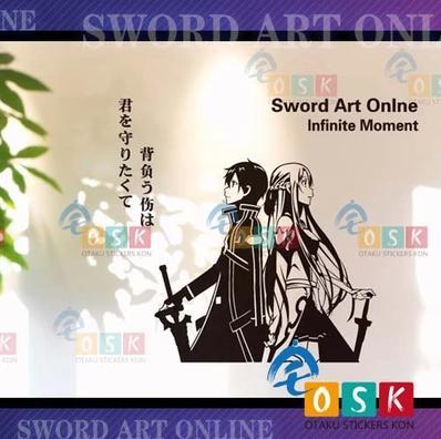 Pegatina Anime Cartoon Car Sticker Sword Art Online SAO Kirigaya Kazuto Yuuki Asuna LOGO Vinyl Wall Stickers Decal Decor Home