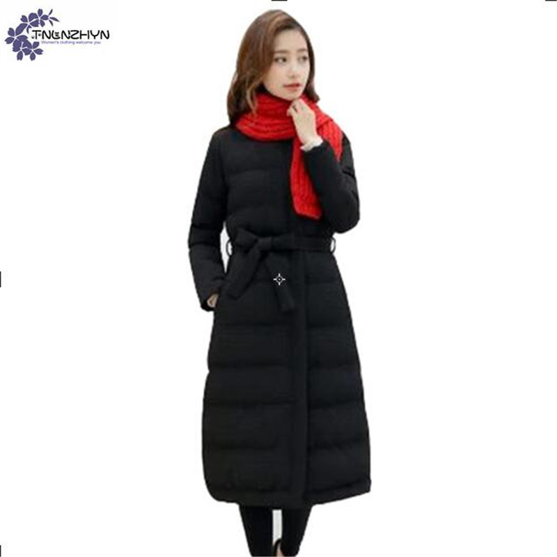 TNLNZHYN Women clothing cotton coat winter new fashion thickening warm long-sleeved casual long female cotton Outerwear QQ148
