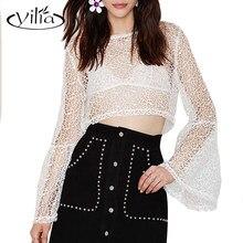 Yilia 2017 blusas de encaje sexy mujer elegante blanco largo flare manga ahueca hacia fuera las blusas camisas mujer blusas femininas
