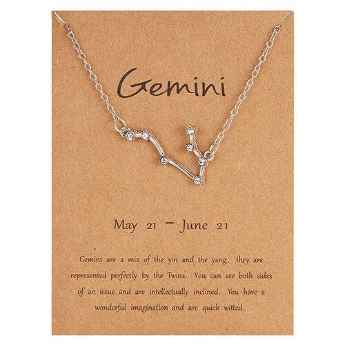 Rinhoo трендовые блестящие хрустальные звёздные Знаки зодиака 12 созвездий подвески ожерелья женские элегантные серебряные ожерелья-чокер ювелирные изделия - Окраска металла: 5