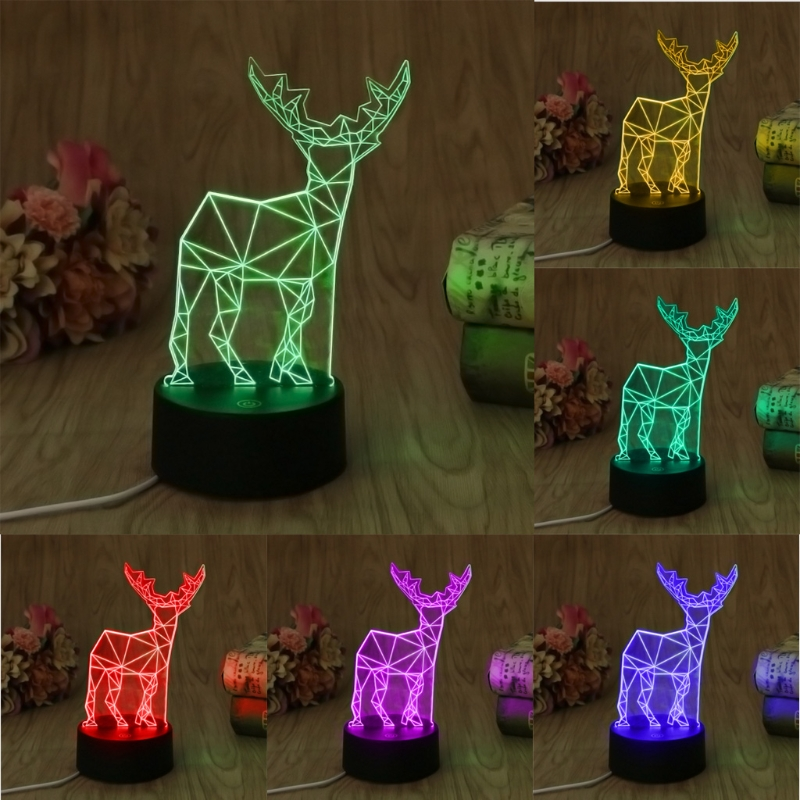 YAM Novelty USB 7 Colors Changing Deer LED Night Light 3D Desk Table Lamp For Decorative Lighting