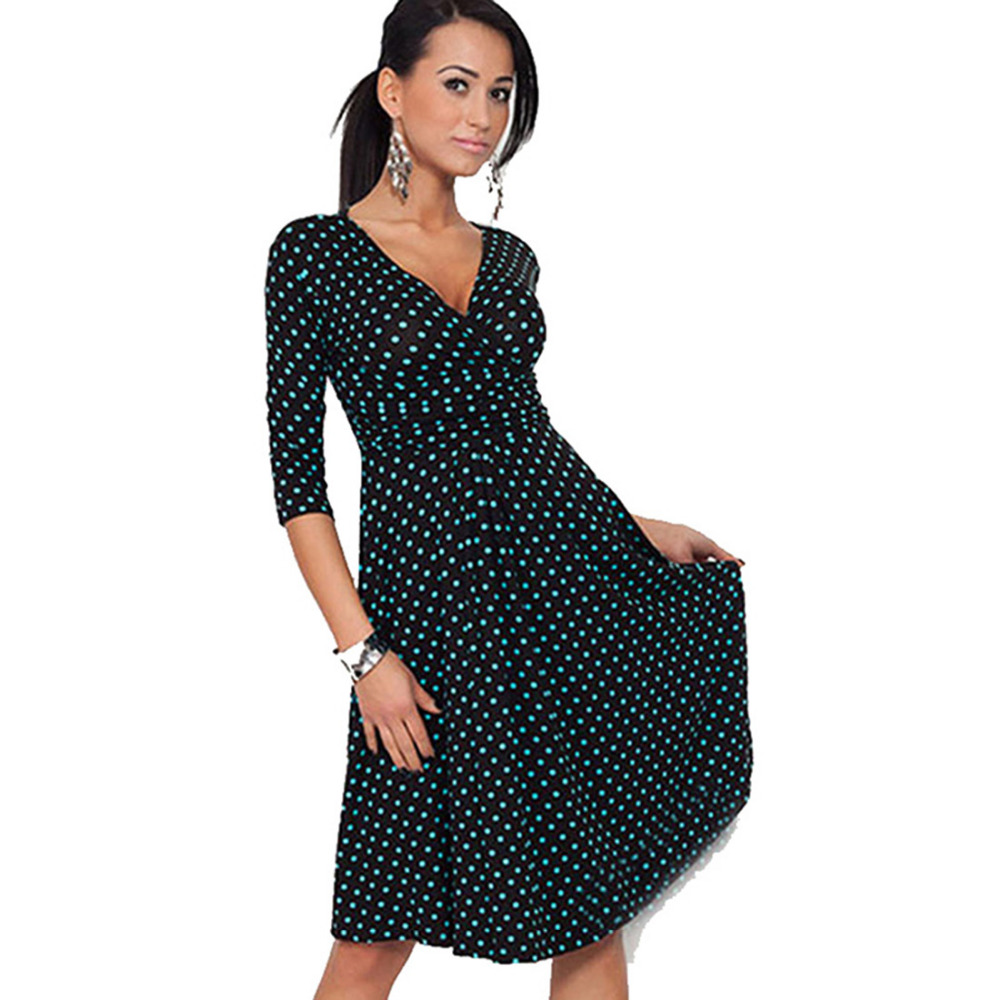 d8d16cbdce777 US $15.99 20% OFF AAMIKAST Summer Women Dresses Hot Sale Celeb Dot V neck  Loose Causal Dresses Wholesale Free Shipping-in Dresses from Women's ...