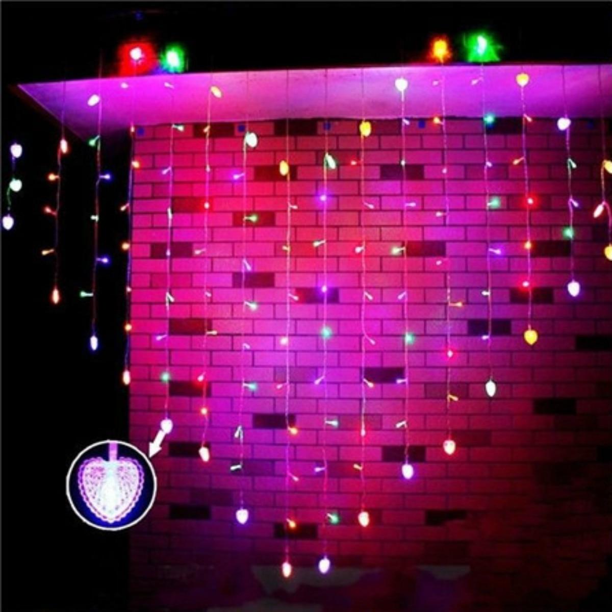 128 LED Heart-Shape Fairy String Curtain Light Valentine's Day Wedding Christmas Decor Lamp