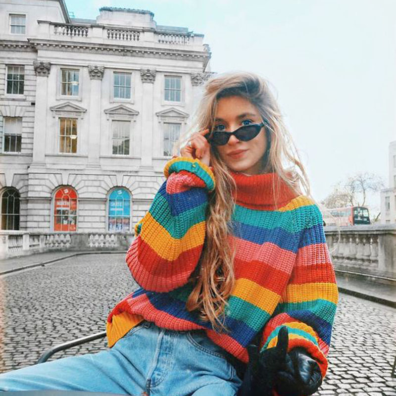 Autumn and winter New High Collar Rainbow Striped Sweater Female Loose Hood Thick Warm Knitted Sweater Women Casual Wild Bright