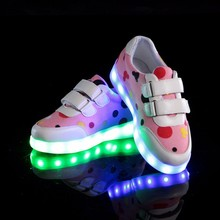 Children Lovely Dot Light Shoes Girls Flashing USB Charging Shoes Kid's Student Casual Sneakers Boys LED Luminous Sneaker Shoes