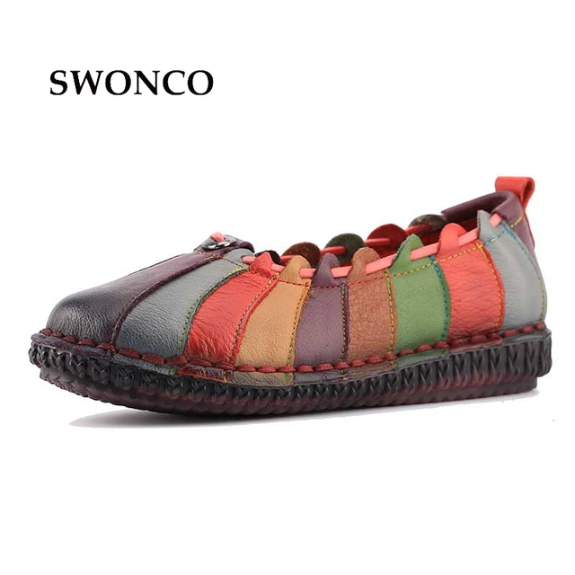 fd10dcca9376c US $59.4  Fashion Design Rainbow Color Women Flat Shoes Genuine Leather  Women Shallow Vintage Shoes Fashion Sewing Slip on Girl Loafers-in Women's  ...