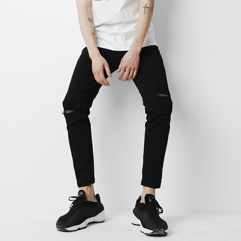 YINOS Black Knee Hole Ripped Moustache Distressed Men Jeans Ankle-Length High Stretch Skinny Trousers Slim Fit Pants Street 2017 new 2017 black men jeans pants ankle length knee ripped male jeans korean slim fit mens skinny denim jeans pant men clothing