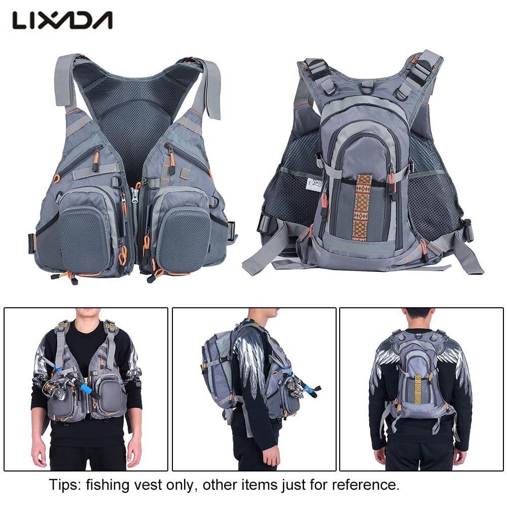 Lixada 3 In 1 Fly Fishing Vest with Backpack Combo Army Green Fishing Vest fly Fishing