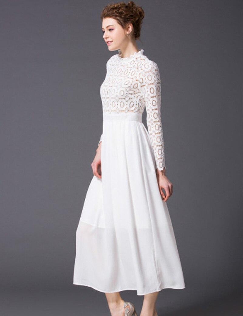 Date 2017 italie printemps et été violet cheville-longueur robe à manches longues coton stéréo fleur blanc mignon robe longue décontractée femmes