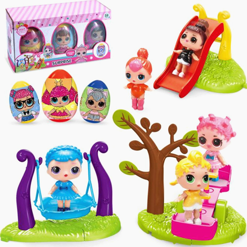 New Playground Action Figure Toys with Slide Funny Cute Doll Kid Xmas Gift Toy