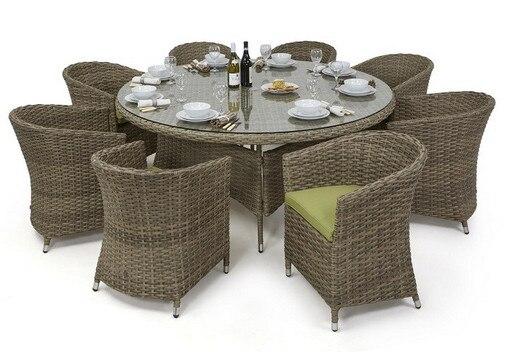 2017 commerce assurance en rotin 8 places en plein air meubles en rotin ensemble salle manger ronde avec baignoire chaises dans tables en plein air de