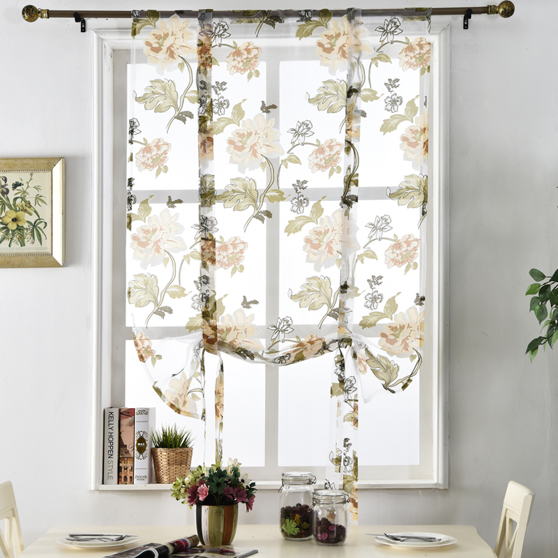Flower Floral Treatment Roman Short Sheer Kitchen Tulle