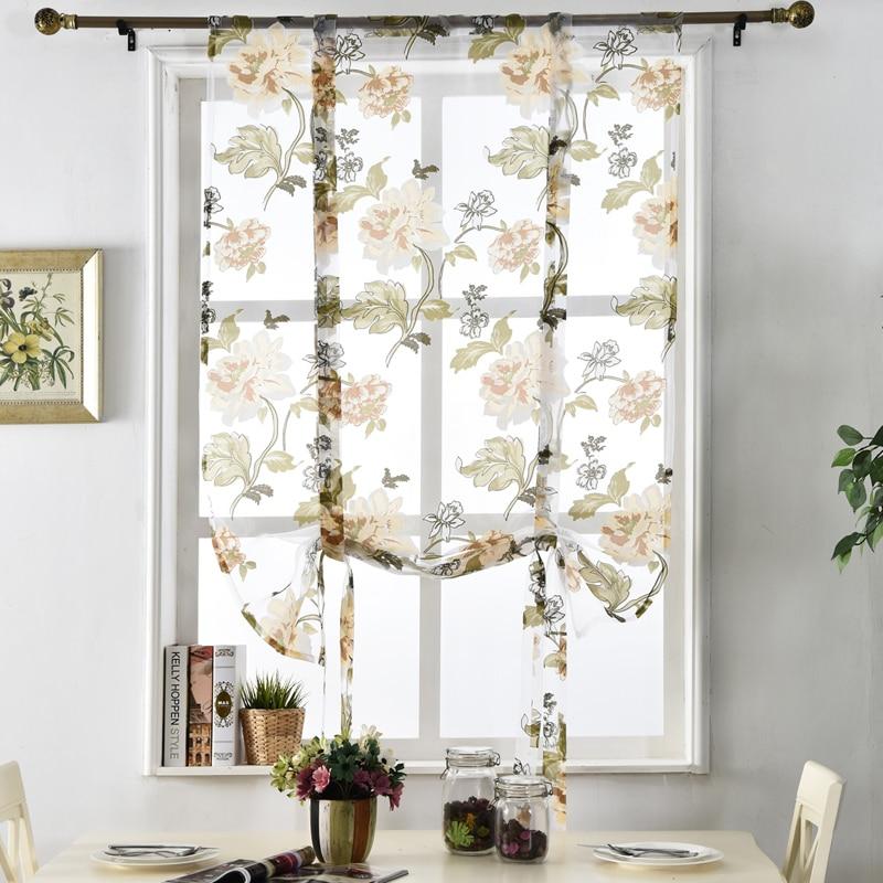 Flower Floral treatment roman short sheer kitchen tulle