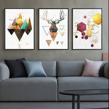 Geometric Canvas Print Posters And Prints Abstract Painting Art Picture Deer Poster Modern Living Room Unframed