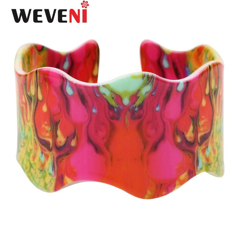 WEVENI Original Wide Love Colorful Flame Magma Printing Bracelets Bangles Fashion Acrylic Jewelry For Women New Accesssories