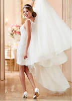 Smileven Wedding Dress Short Skirt Lace Applique Luxurious Bridal Dress Detachable Train White Tulle Beach Wedding Gowns